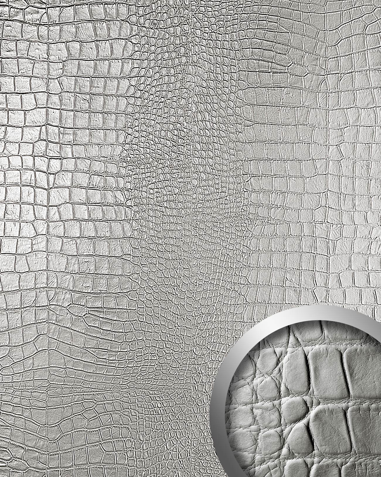 WallFace 13800 CROCO NOVA Wall panel leather 3D interior decoration luxury wallcovering self-adhesive Platin   2,60 sqm