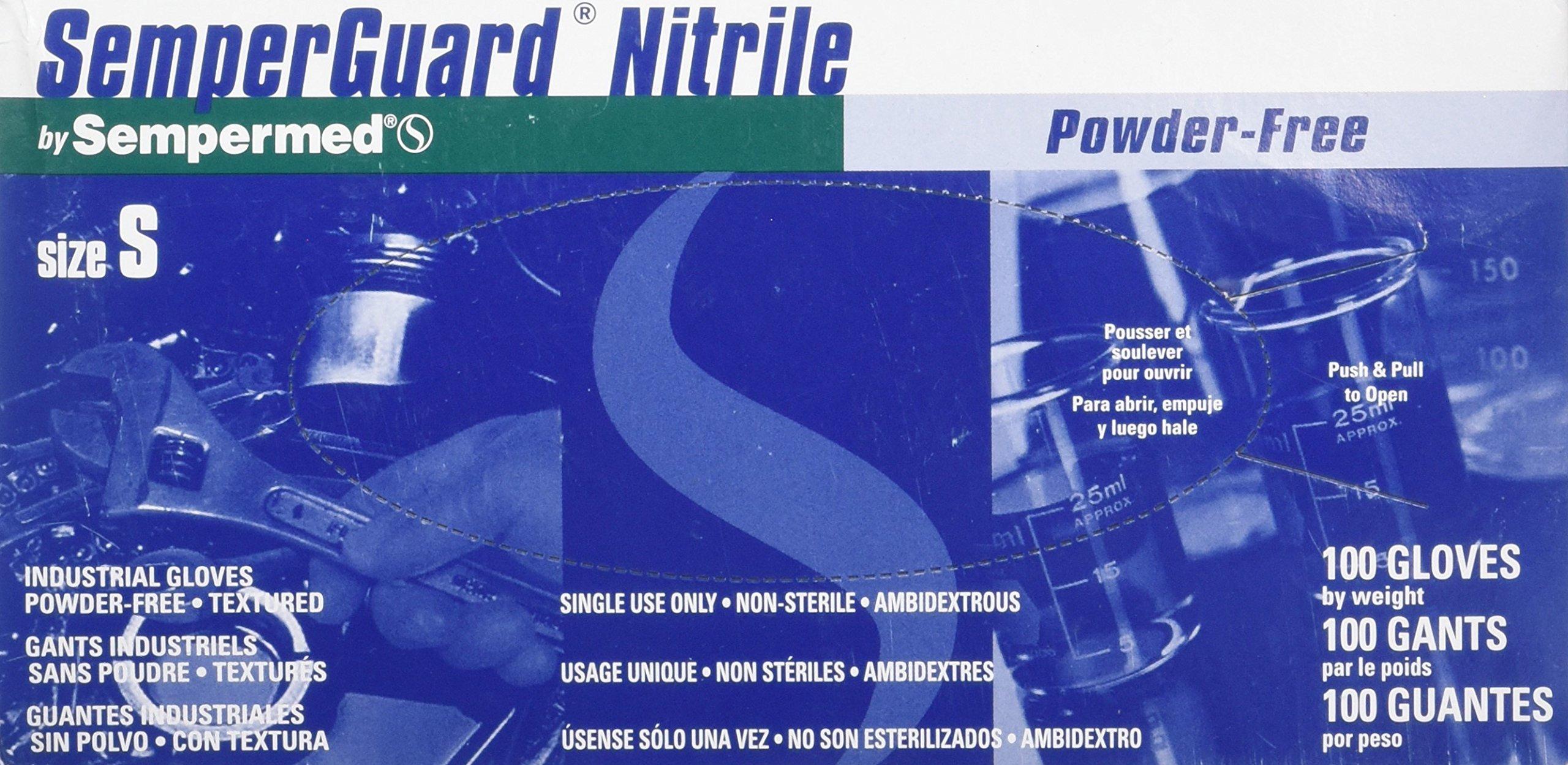 SemperGuard®Nitrile PF Nitrile Powder-Free Industrial Gloves, SMALL