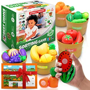 Wily Fox USA Farmers Market Color Sorting Set Play Food Sets for Kids Kitchen Toddler Learning Toys Montessori Toys for Toddlers Kids Food Toys Pretend Food for Play Fruits and Vegetables Toys Baskets