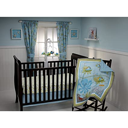 amazon com 3 piece blue green grey nautical baby crib bedding set
