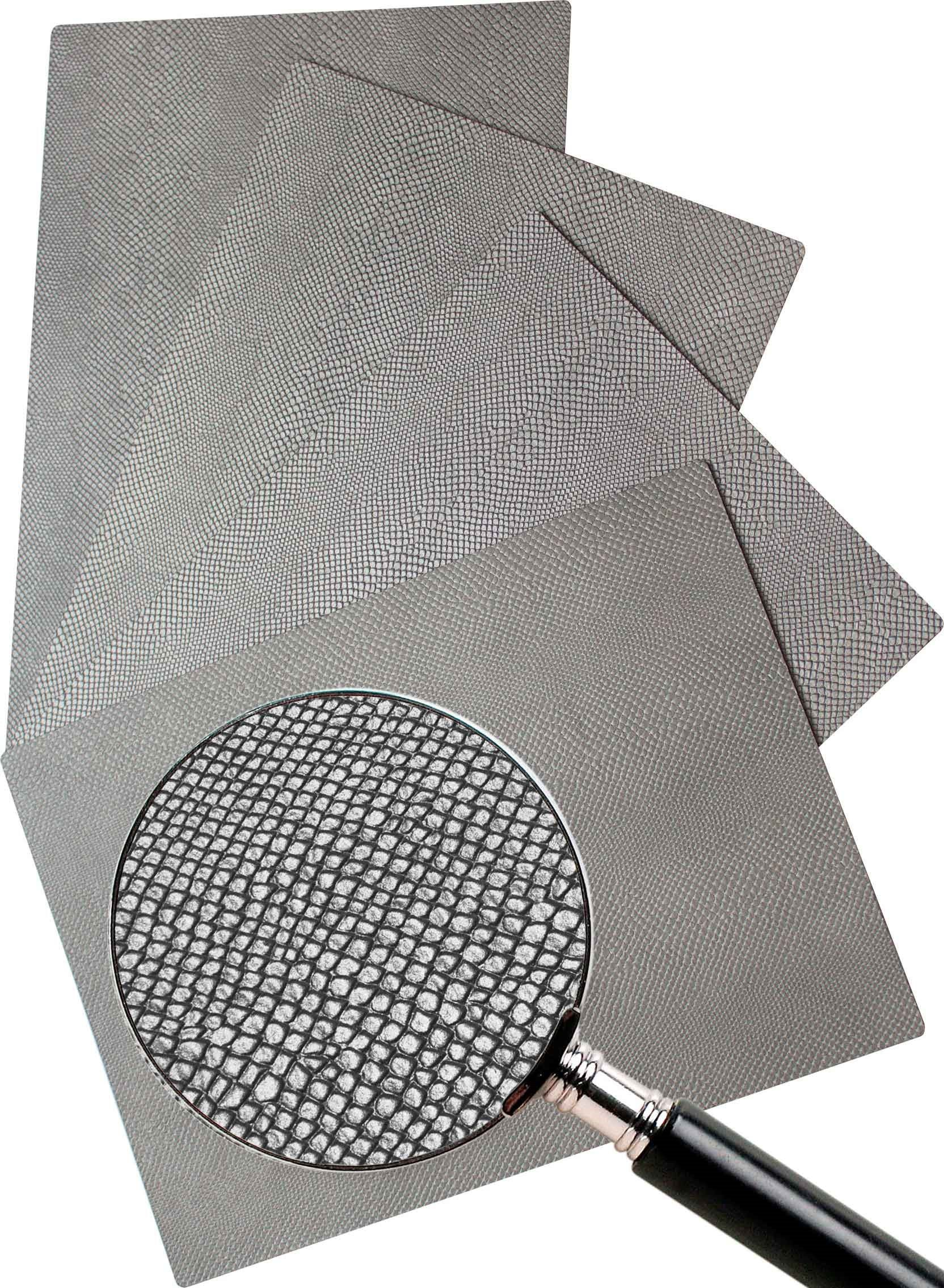 Leather Placemats, Real cowhide, hand finished, 13'' x 18'' (4 piece set) (Silver)
