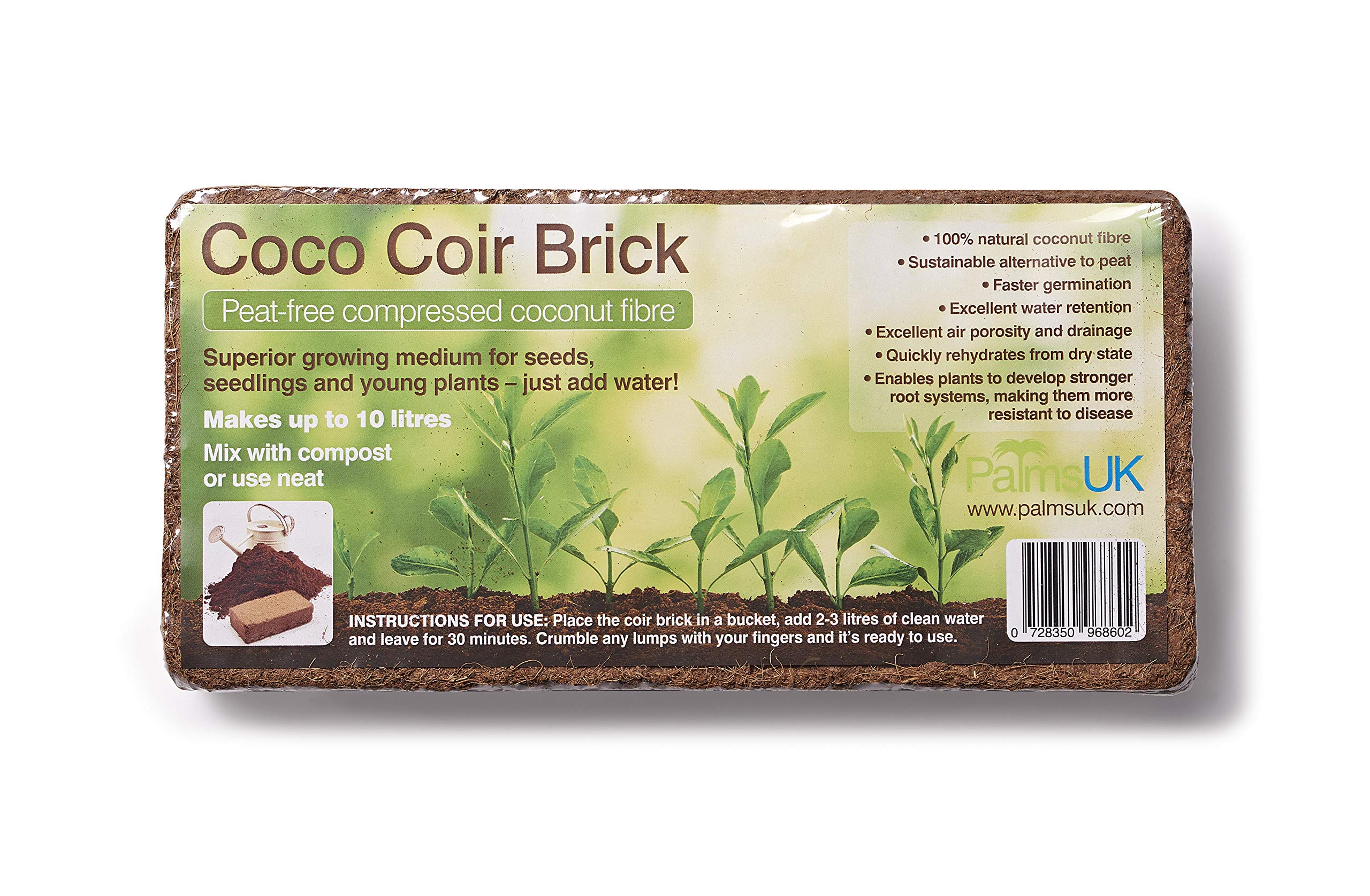 PLANTBOOSTER 1 X 650g ORGANIC COCO PEAT-FREE COIR BRICK - MAKES 9 LITRES