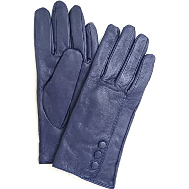 9c85ff51e Women Soft Leather Gloves with Buttons and Fleece Lining (Black/Pink/Purple/ Navy) Blue Size: Large: Amazon.co.uk: Clothing