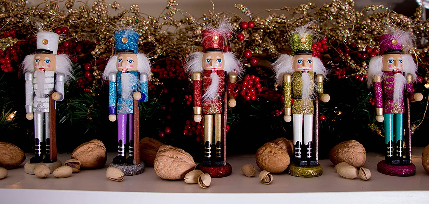 amazoncom wooden glitter nutcracker ornament set by clever creations christmas nutcrackers in red blue white yellow and pink perfect for any