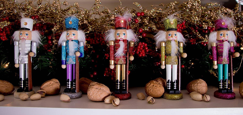 Amazon.com: Wooden Glitter Nutcracker Ornament Set by Clever ...