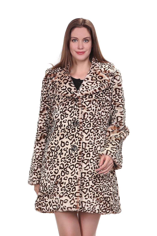 Adelaqueen Eleganter Vintage Leopard Print Faux Fur Revers Damenmantel Mittellang