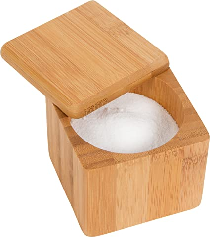 Bamboo Salt Box Container Kitchen Accessory   By Trademark Innovations