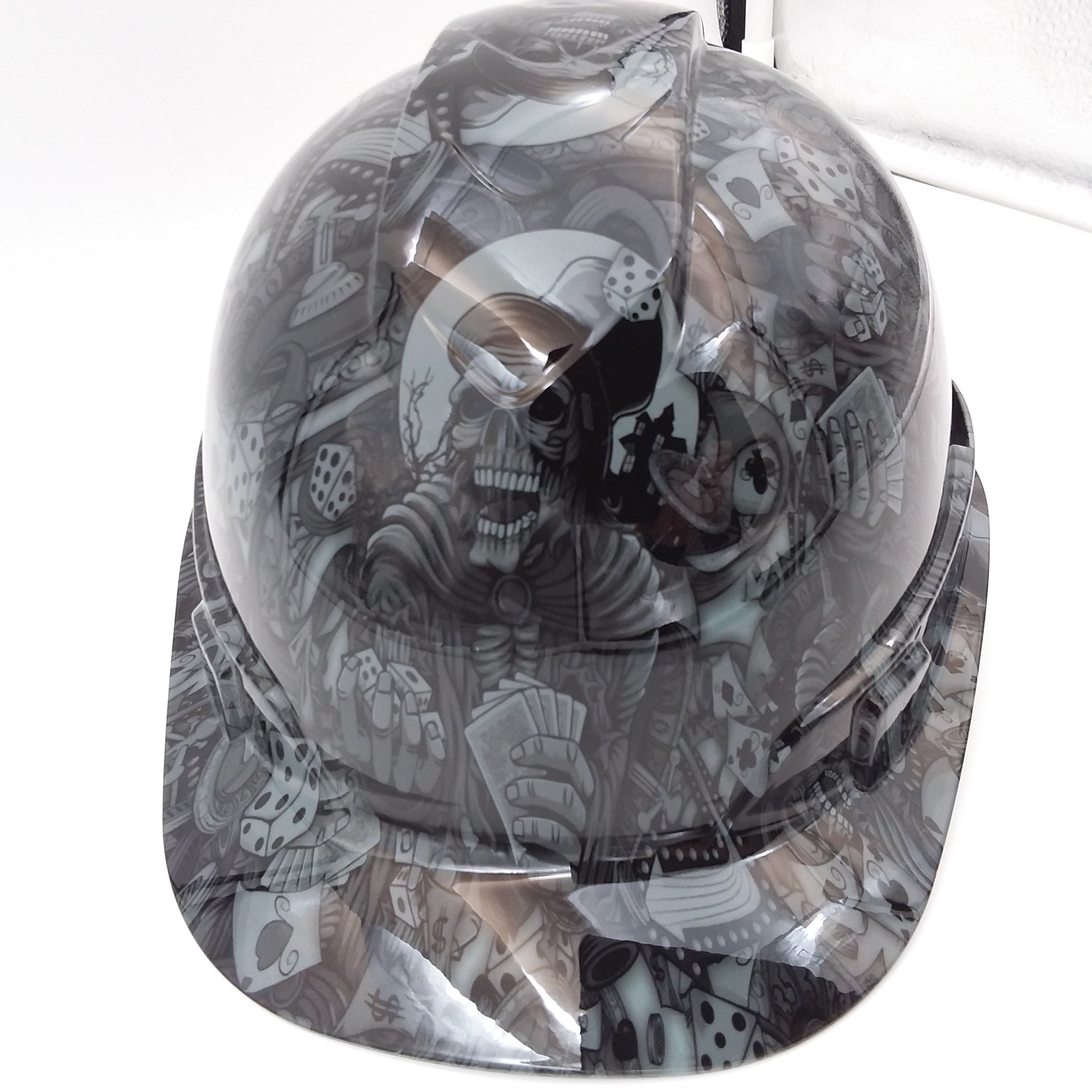 Wet Works Imaging Customized Pyramex Cap Style Gray Dealers Choice Hard Hat With Ratcheting Suspension by Wet Works Imaging