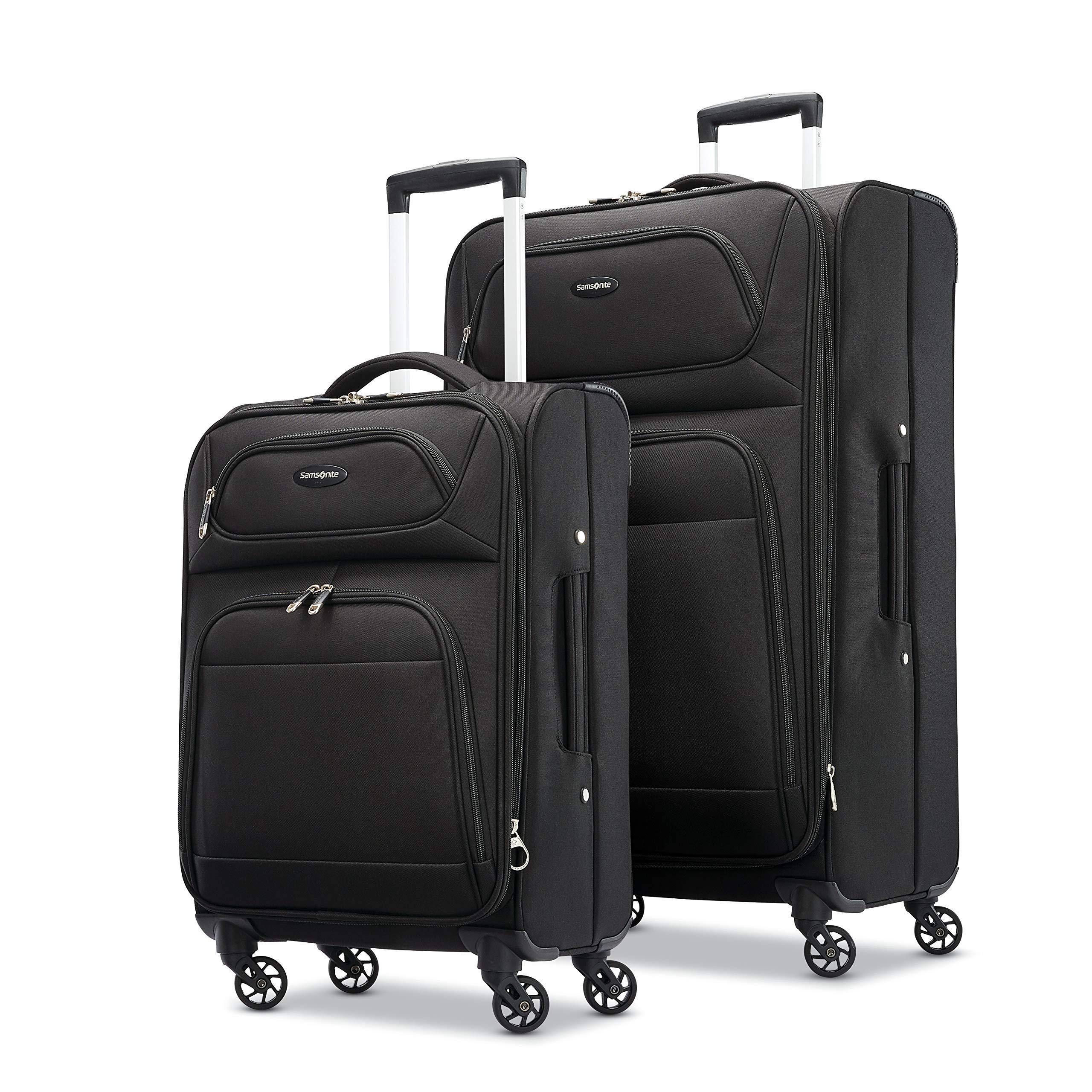 Samsonite Transyt Expandable Softside Luggage Set with Spinner Wheels, 2-Piece (20''/28''), Black