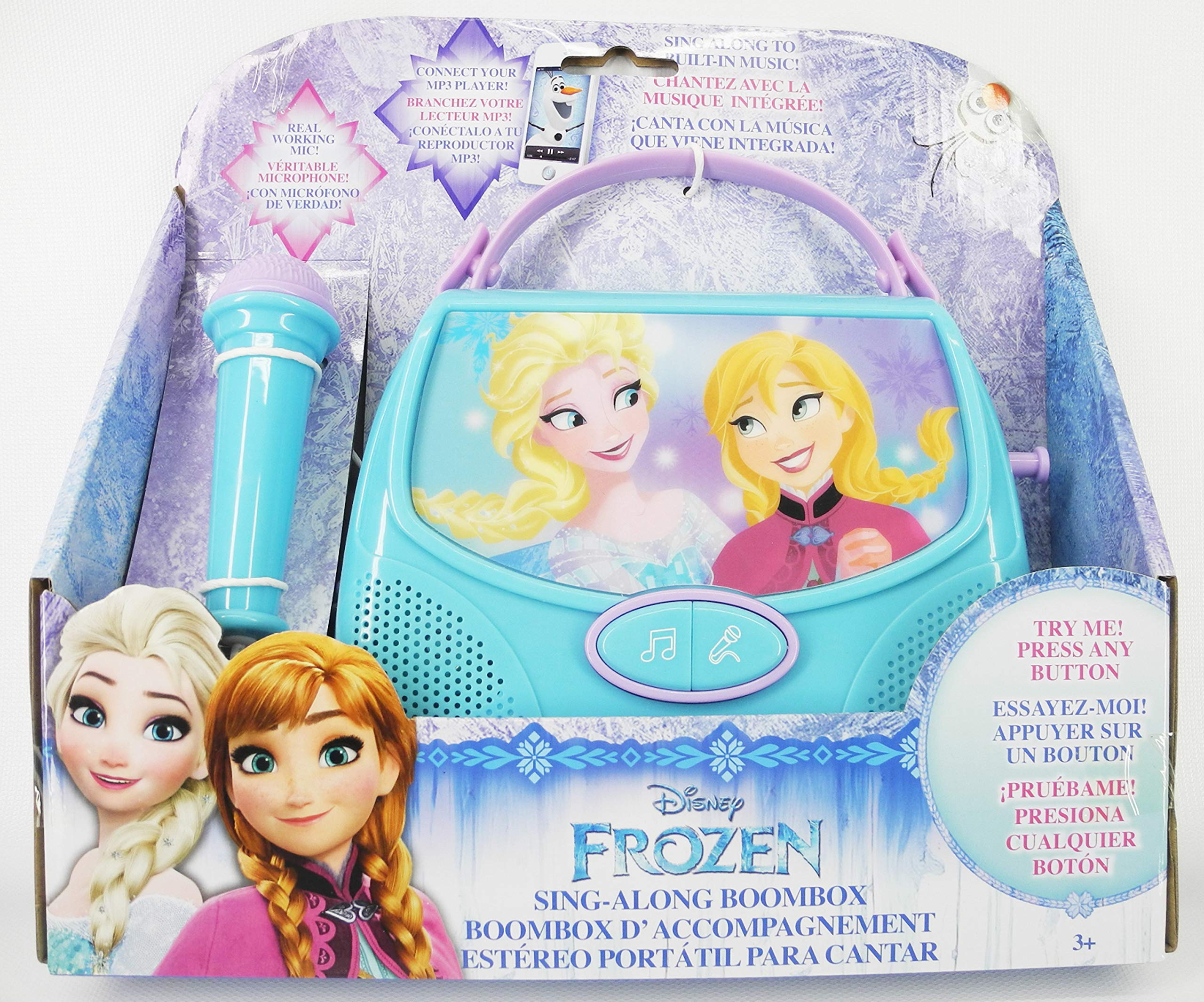 tech 2go Disney Frozen Sing Along Boombox Real Working Mic Connect Your MP3