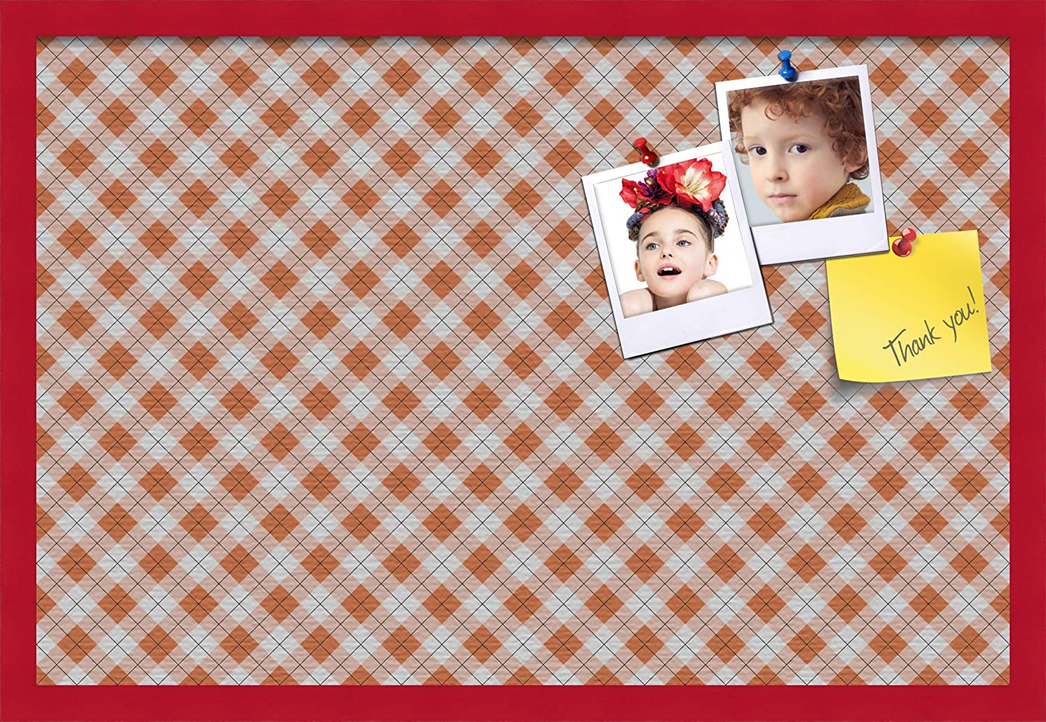 This Argyle Burnt Orange Pin Board Comes with a Fabric Style Canvas Finish in a Blue Stain on Beech Frame PinPix-634-16x16/_0066-81792-YBLU ArtToFrames 16x16 Inch Custom Cork Bulletin Board