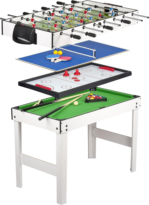 Leomark Mesa multijuegos futbolin Mesa Billar 4 en 1 (Billar, futbolín pimpón y Hockey) Mesa de Billar Mesa de Ping Pong Mesa de Air Hockey Futbolín, Dimensiones: 120 cm x 61 cm