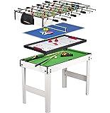 Tavolo Multigioco 4 in 1 con Biliardo Pool , Calcetto , Hockey e Ping Pong , Calcetto Balilla da Tavolo in Legno , Balilla Biliardinoo