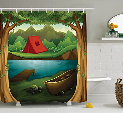 Lunarable Camping Shower Curtain Idyllic Nature Scene Of A Deep Forest With Lake And Mountains