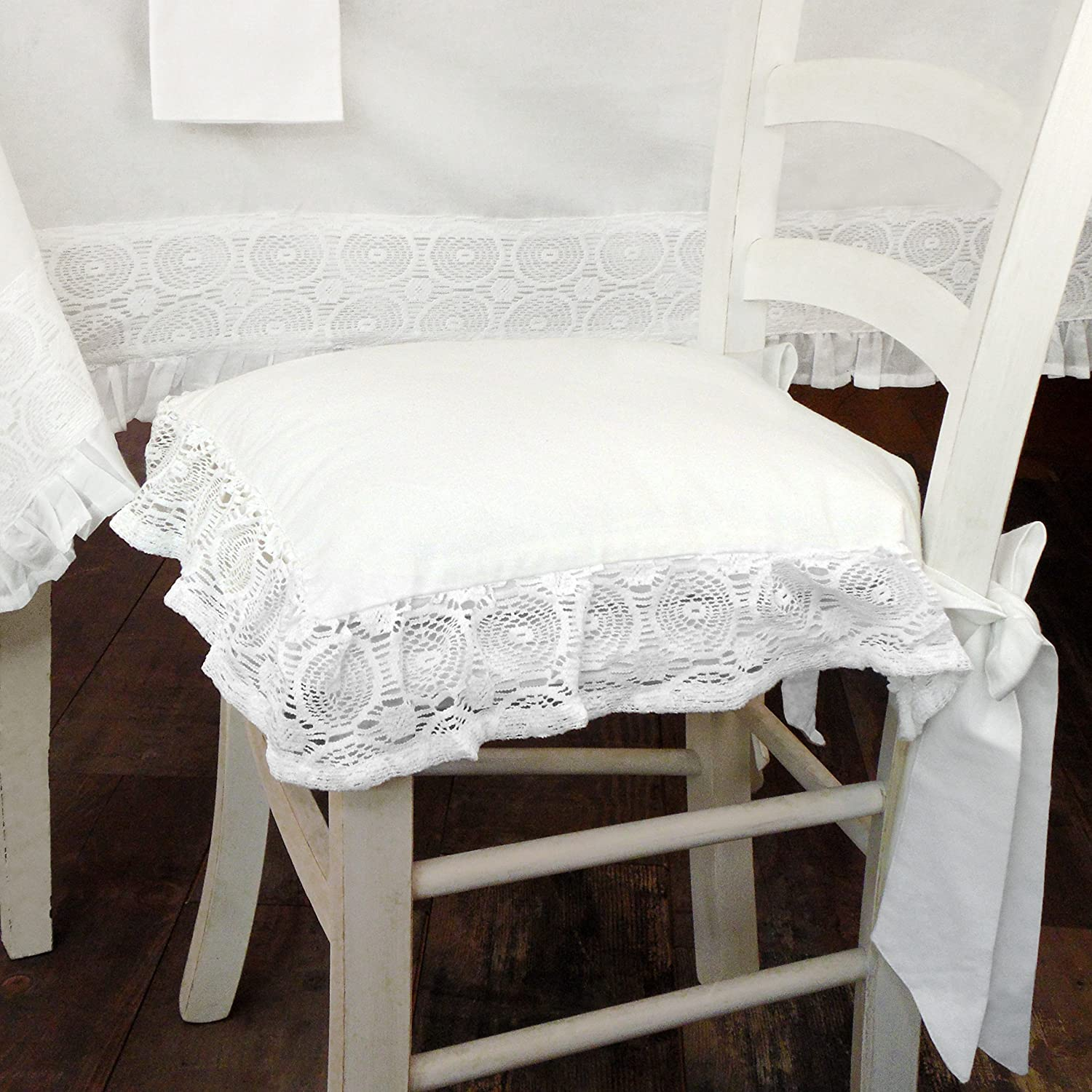 AT17 Cuscino per Sedia Shabby Chic Madame White Collection 40 x 40 Colore Bianco