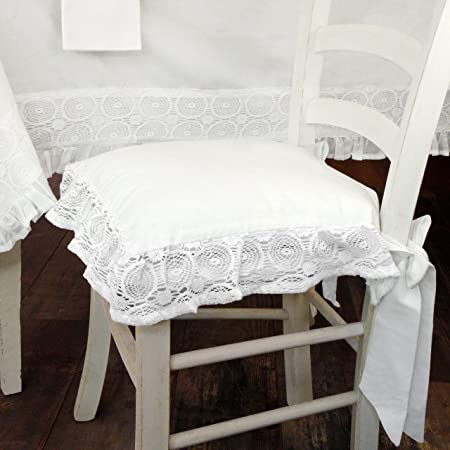 Come Fare Cuscini Per Sedie Da Cucina.At17 Cuscino Per Sedia Shabby Chic Madame White Collection 40 X 40