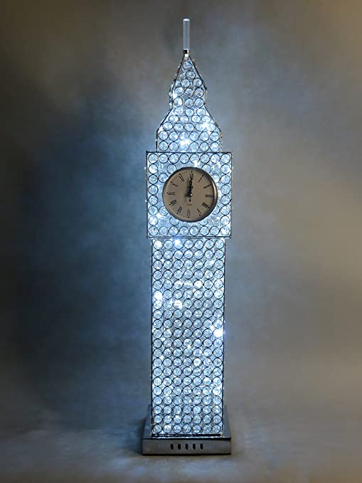 Silver Chrome Diamante Crystal Jewel Big Ben LED Clock Table Desk ...