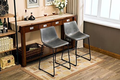 Roundhill Furniture Lotusville Vintage PU Leather Counter Height Stools, Antique Gray, Set of 2