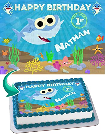 BABY SHARK Quarter Sheet Edible Photo Birthday Cake Topper Personalized 1 4