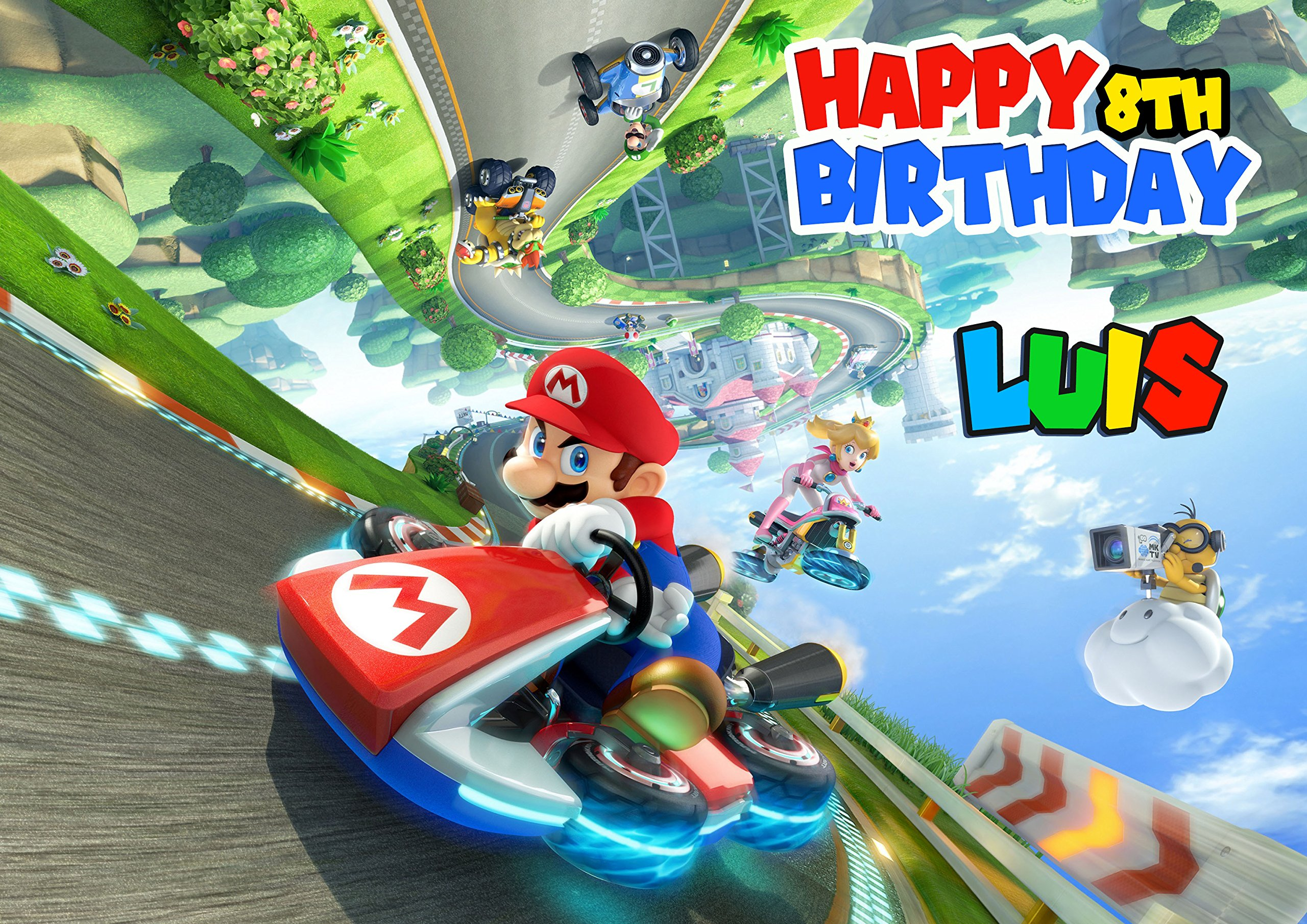 Mario Kart 8 Deluxe Edible Cake Image Personalized Icing Sugar Paper A4 Sheet Edible Frosting Photo Cake 1/4 ~ Best Quality Edible Image for cake by EdibleInkArt (Image #3)