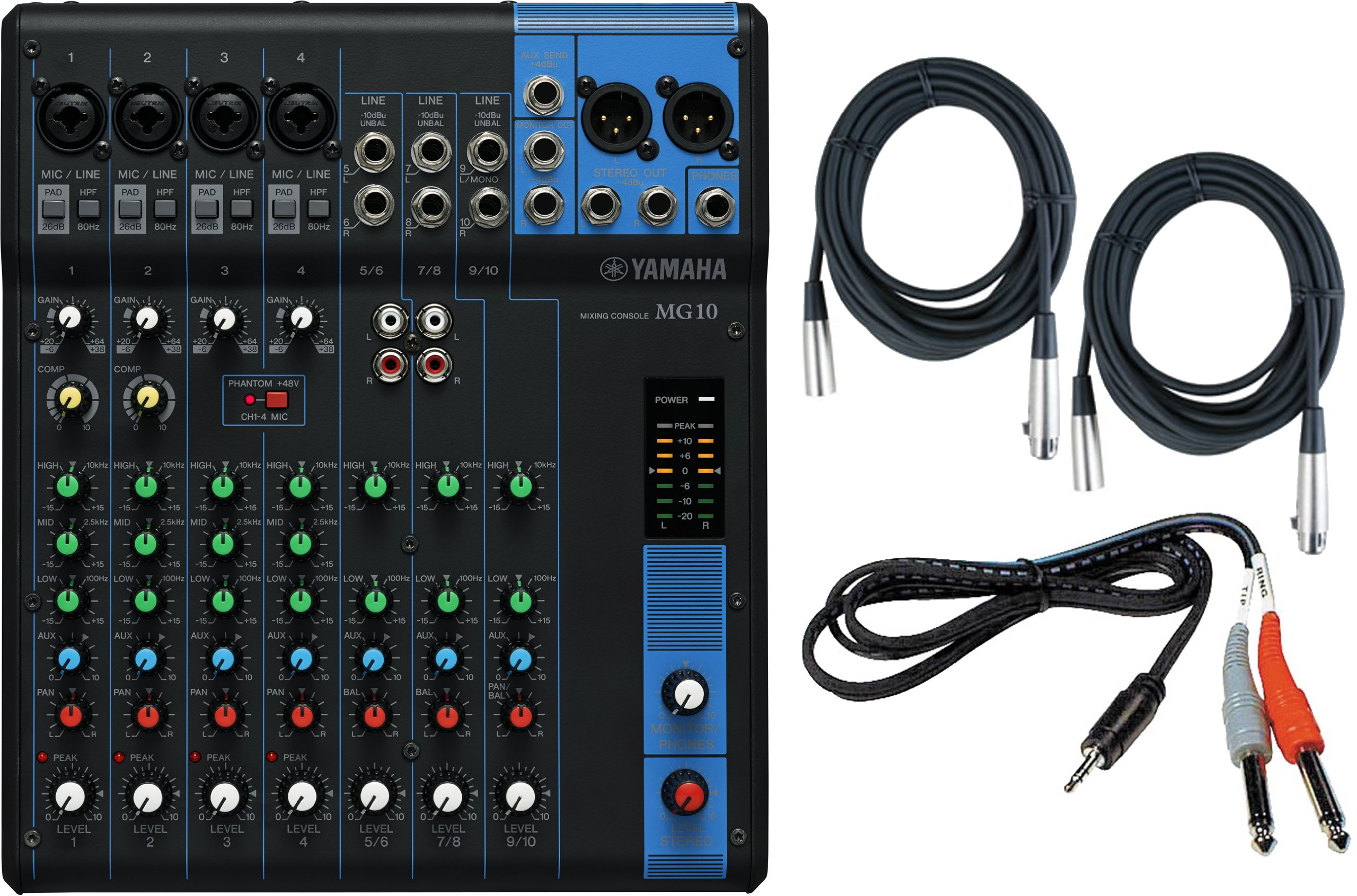 Yamaha MG10 10-Input Stereo Mixer w/ (2) 20' XLR Mic Cables and Stereo 1/8'' TRS to Dual 1/4'' Breakout Cable