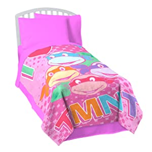 "Nickelodeon Teenage Mutant Ninja Turtles 62"" x 90"" Twin Blanket, I Love TMNT Pink"