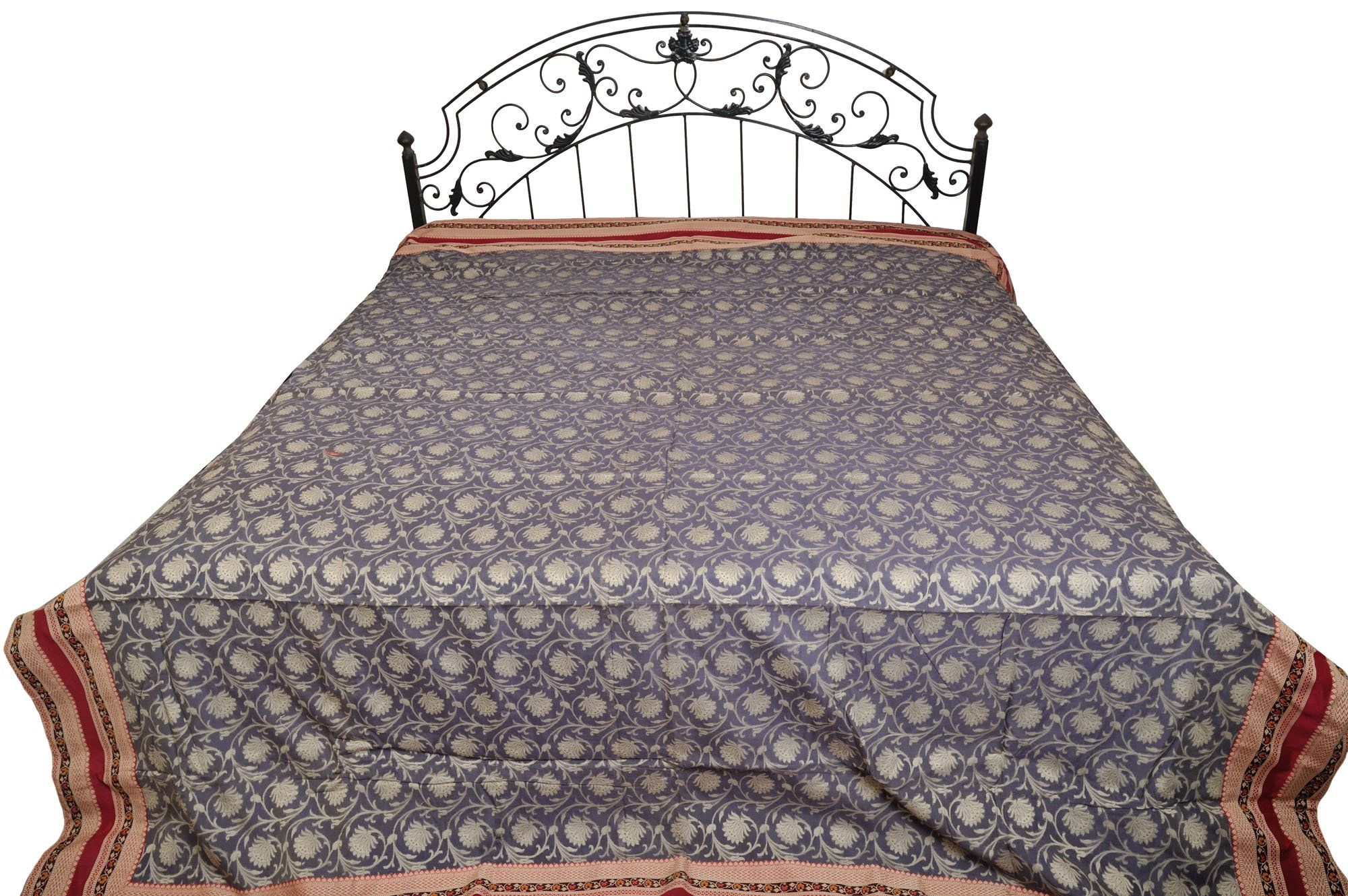 Excalibur-Gray Bedspread from Banaras with All-Over Woven Lotuses and Wide Patch Border - Kora Cotto by Exotic India (Image #1)