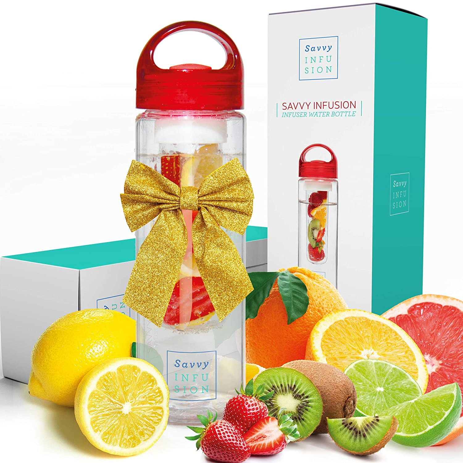 Savvy Infusion Water Bottles 24 or 32 Ounce Fruit Infuser Bottle Featuring Unique Leak Proof Silicone Sealed Cap with Handle Great Gifts for Women