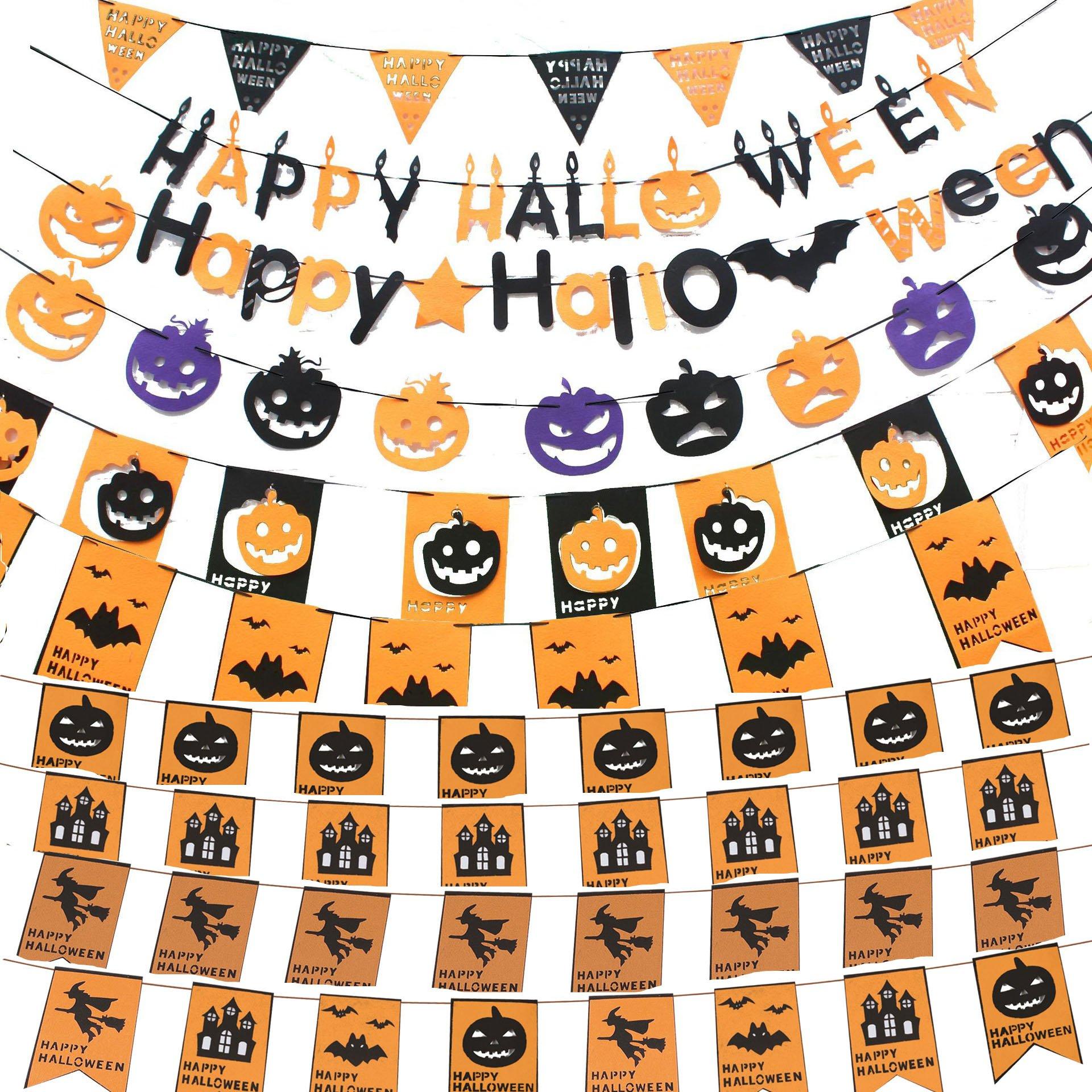 Happy Halloween Pumpkin Bat Wizard Swallowtail Pennant Party Banners School Hotel Decoration 10pcs