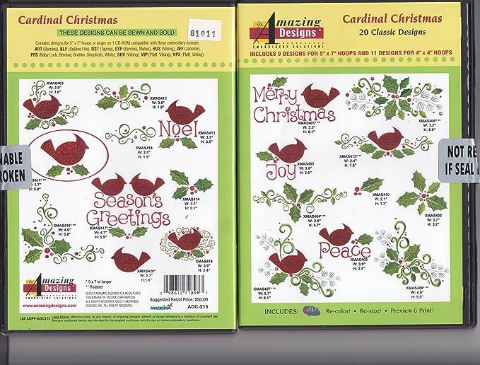Amazon Amazing Designs Cardinal Christmas Machine Embroidery