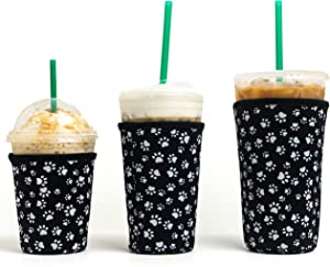 Reusable Insulated Neoprene Iced Coffee Beverage Sleeves | Cold Drink Cup Holder for Starbucks Coffee, McDonalds, Dunkin Donuts, Tim Hortons and More | (Black Animal Paw Print, 3 PK Sm-Med-Lg)