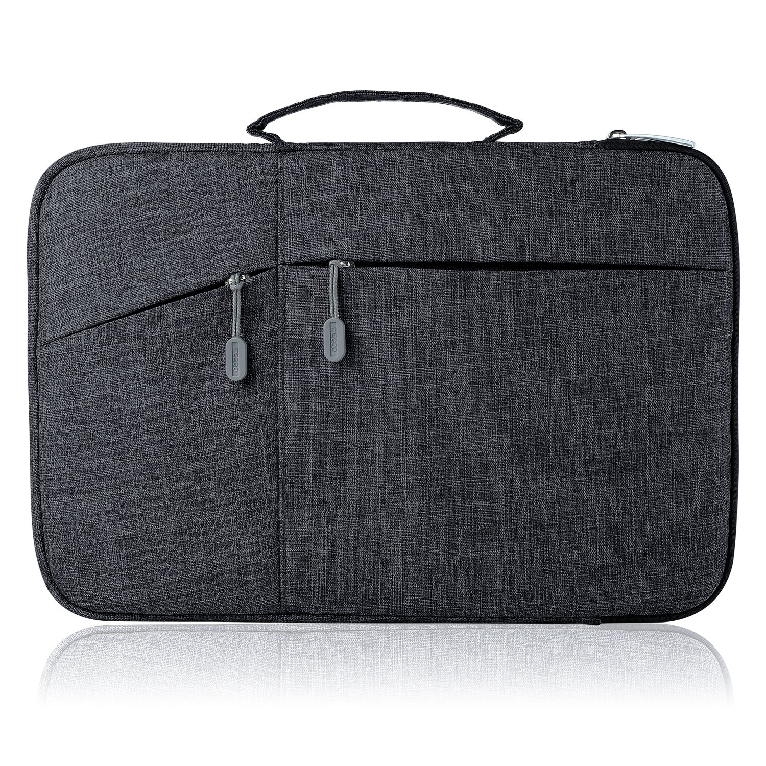 Megoo 12 Inch Sleeve Case for Microsoft New Surface Pro 5/4/3 12.3'', 11'' 12'' Macbook/Dell/Chromebook/Samsung Galaxy Book Tablet Laptop Slim Water Resistant Carrying Case with Handle and Pocket (Black)