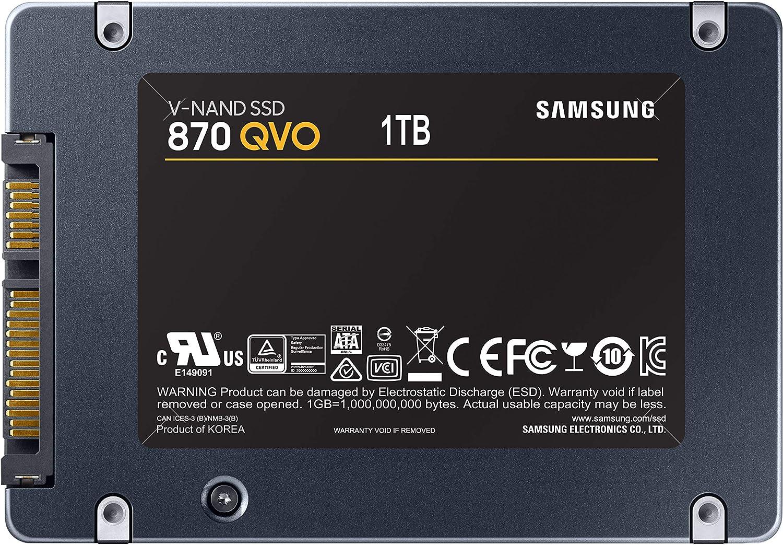 Vista trasera del Samsung 870 QVO 1 TB 2,5'' SATA III SSD Interna