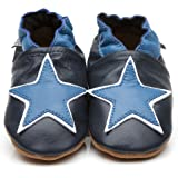 Soft Leather Baby Shoes Blue Star 12-18 Months