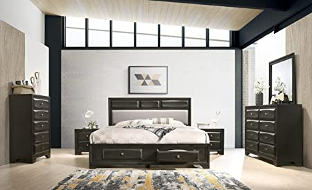 Roundhill Furniture Oakland Wood Bedroom Set With King Bed Dresser Mirror 2 Nightstands Chest Antique Gray