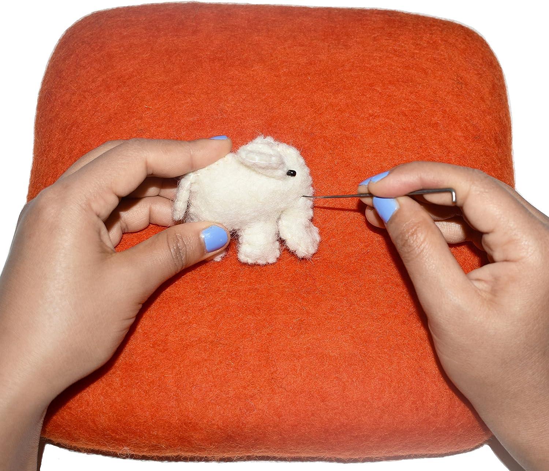 Eco-Friendly Natural Wool Needle Felting 9 x 9, Orange 100/% Woolen Needle Fetling Mat