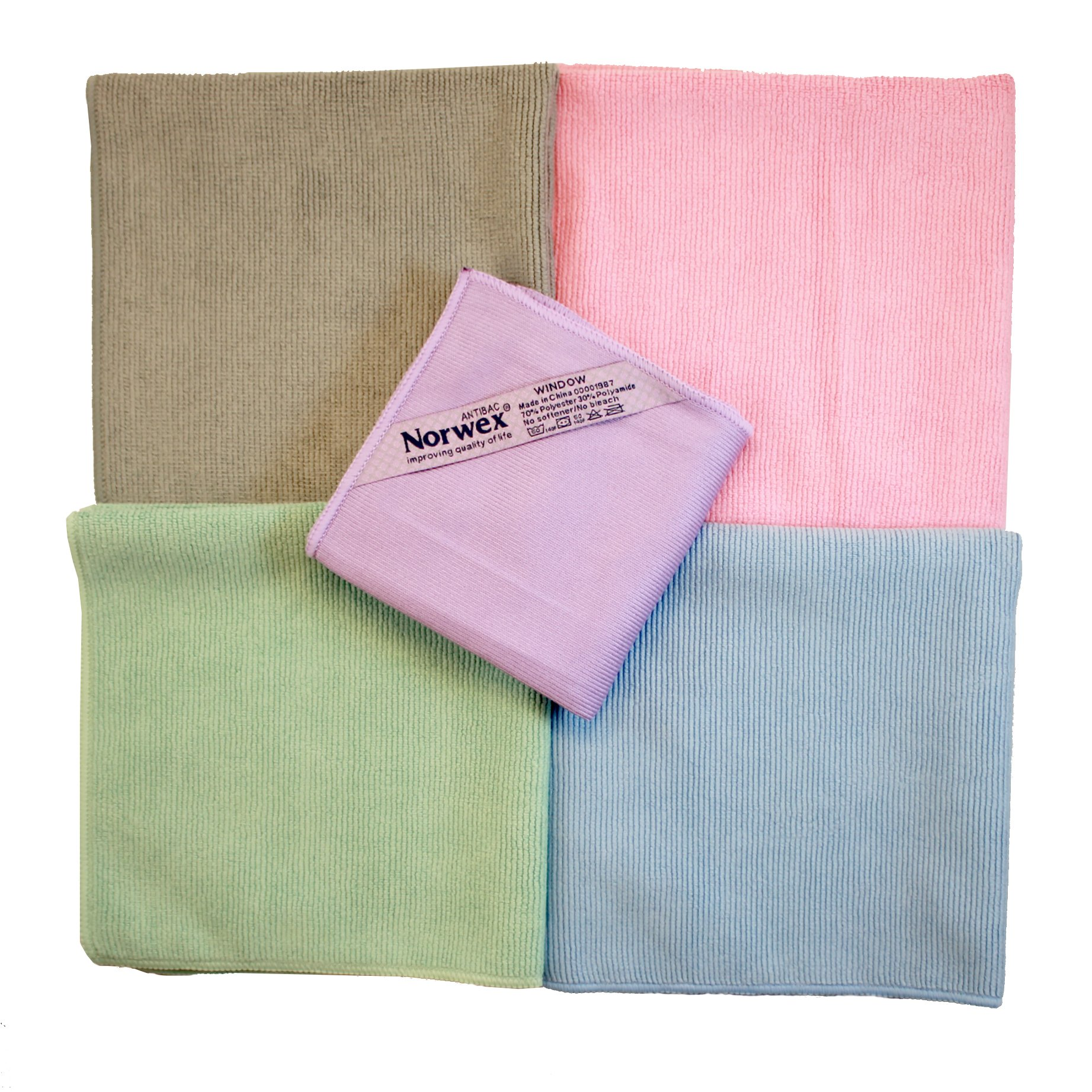 Norwex Microfiber Rainbow Package Plus with 4 Enviro Cloths & 1 Window Polishing Cloth