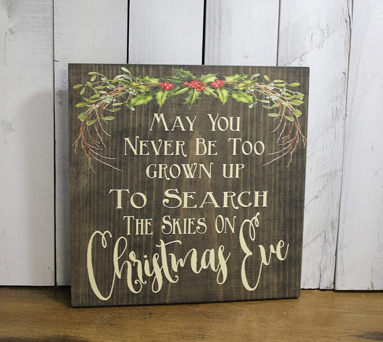 May you never be too grown up to search the skies sign plaque christmas eve