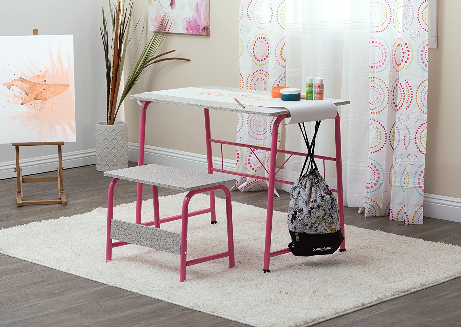 SD Studio Designs Project Center, Craft Table Play Desk with Bench in Pink Spatter Gray, 55125