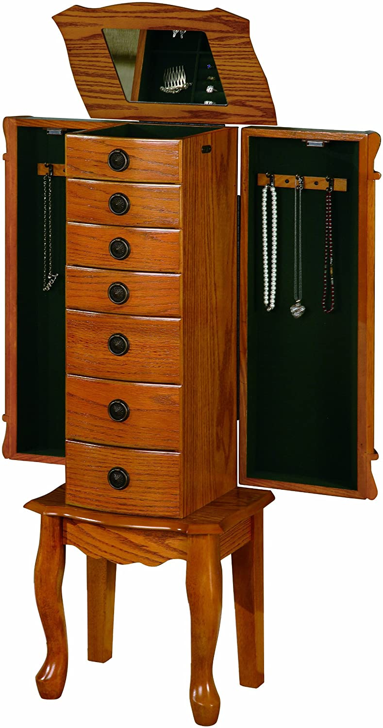 jewelry cabinet mirror jewelry armoire organizer with mirror wood oak ebay 18019