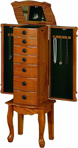 coaster traditional jewelry armoire oak amazoncom antique jewelry armoire