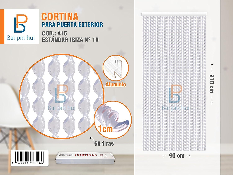 BAI PIN HUI (COD.416) Cortina para puerta exterior, Modelo IBIZA, 60 tiras, Color: TRANSPARENTE, Materiales: plástico y aluminio, Tamaño: 90 x 210 cm