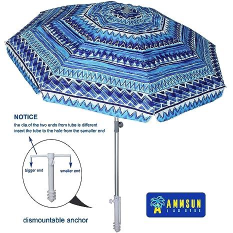 722855090d2d AMMSUN 7 ft Sand Anchor Beach Umbrella Adjustable Height with Zinc Tilt  Twist-in System