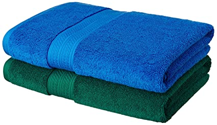 Amazon Brand - Solimo Ultra-Soft 100% Cotton 2 Piece Bath Towel (Midnight Blue and Fern Green)