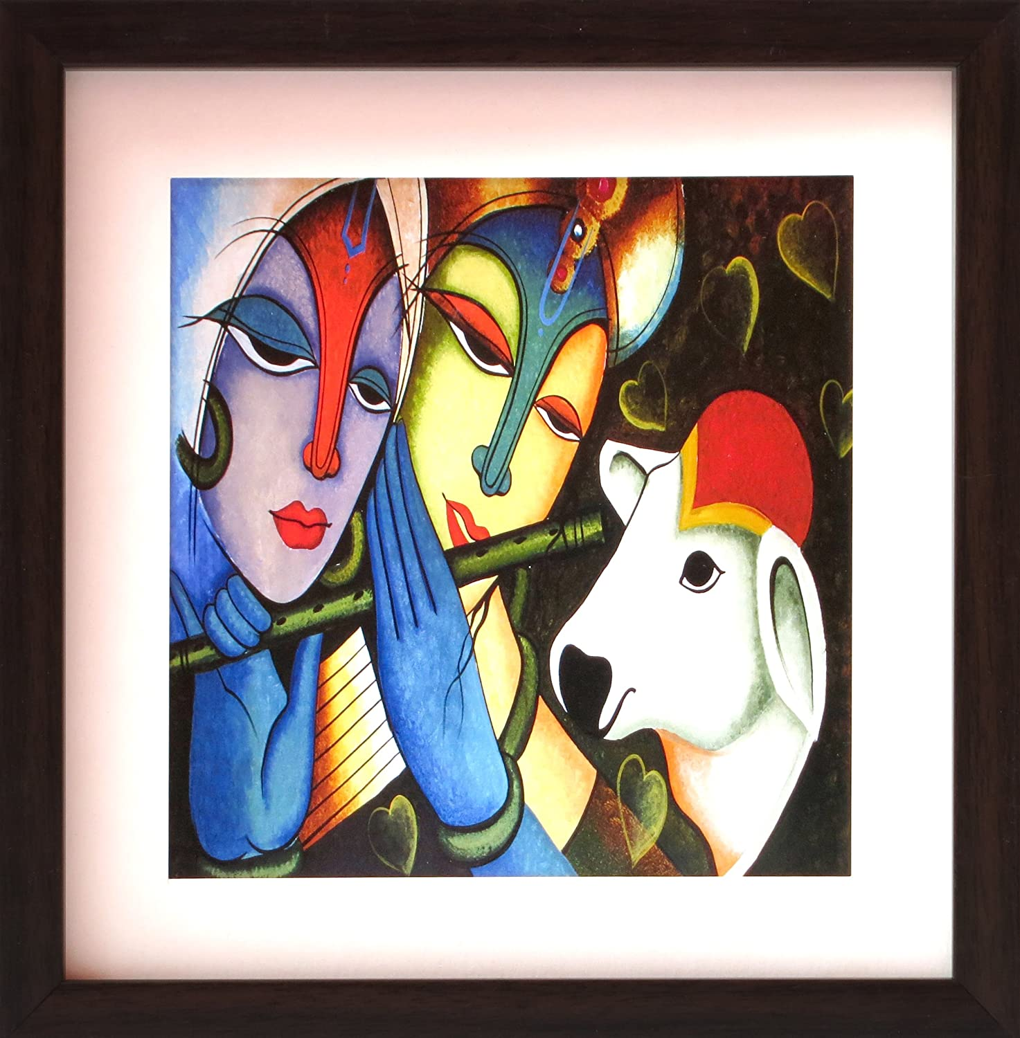 HandicraftStore Lord Radha Krishna Cow, a Decorative Poster Painting Home/Office Décor, a Paper Poster Framing
