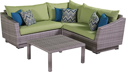 RST Brands Cannes 4-Piece Corner Sectional Set with Cushions, Ginkgo Green