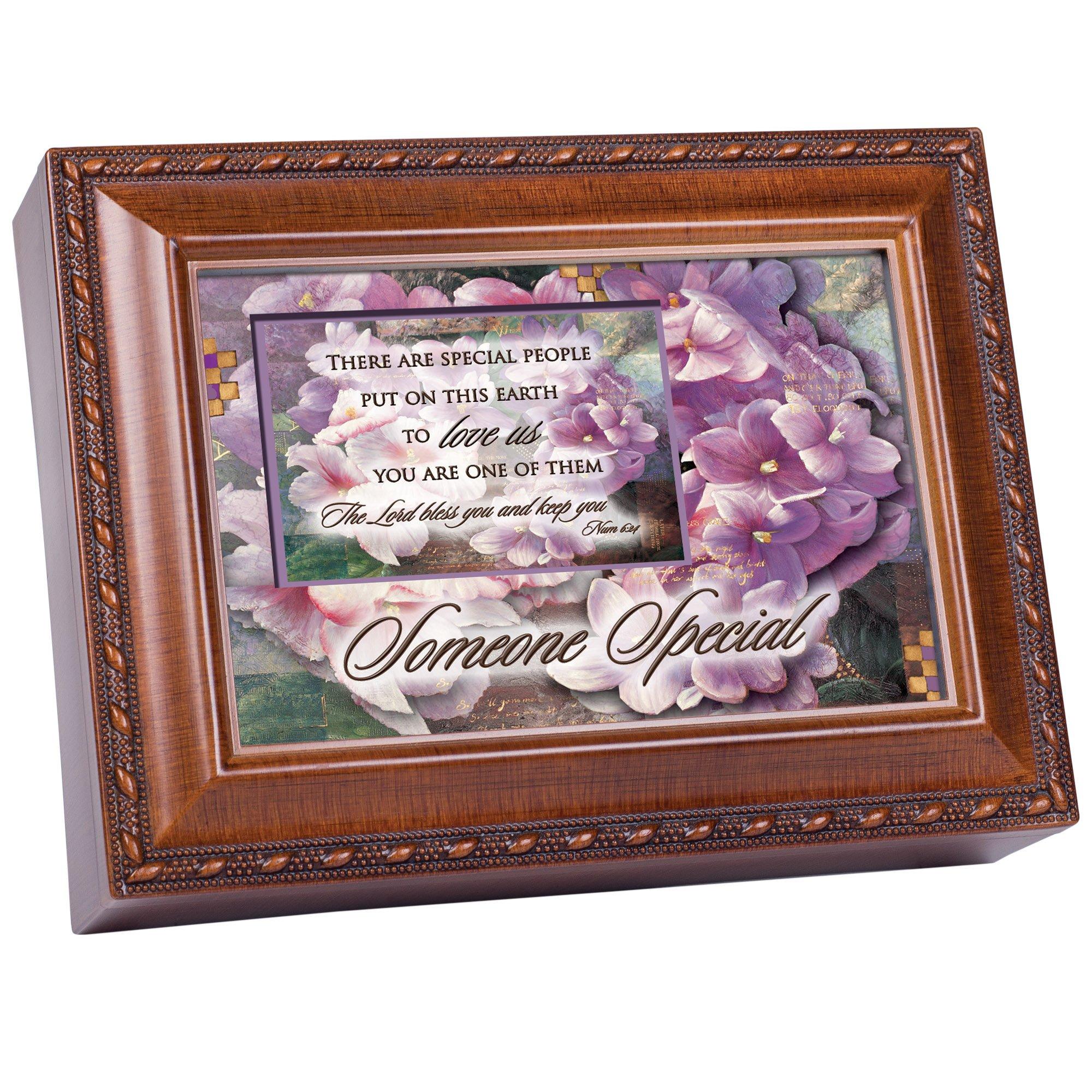 Cottage Garden Someone Special Woodgrain Music Box/Jewelry Box Plays Friend In Jesus