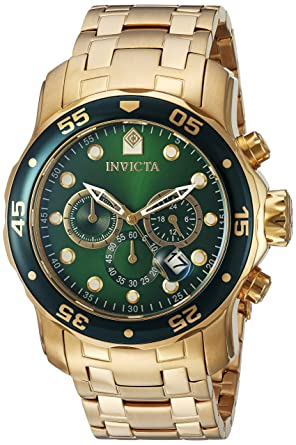 invicta men s pro diver quartz watch green dial chronograph invicta men s pro diver quartz watch green dial chronograph display and gold plated bracelet 0075