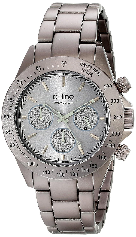 A Line – 20050-gr – Armbanduhr – Quarz – Chronograph – ZÄhler-Geschwindigkeit – Armband Edelstahl vergoldet grau