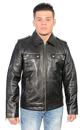 d04ae097b2c Amazon.com: Mens Black Leather Patch Pocket Jacket W Shirt Collar ...